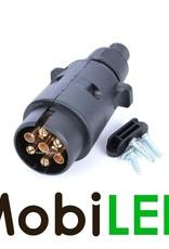 Aanhanger stekker zwart kunststof 7-polig 12V (ISO 1724)