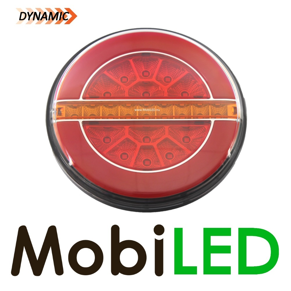 Dynamic rond achterlicht, Hamburger LED neon look  links
