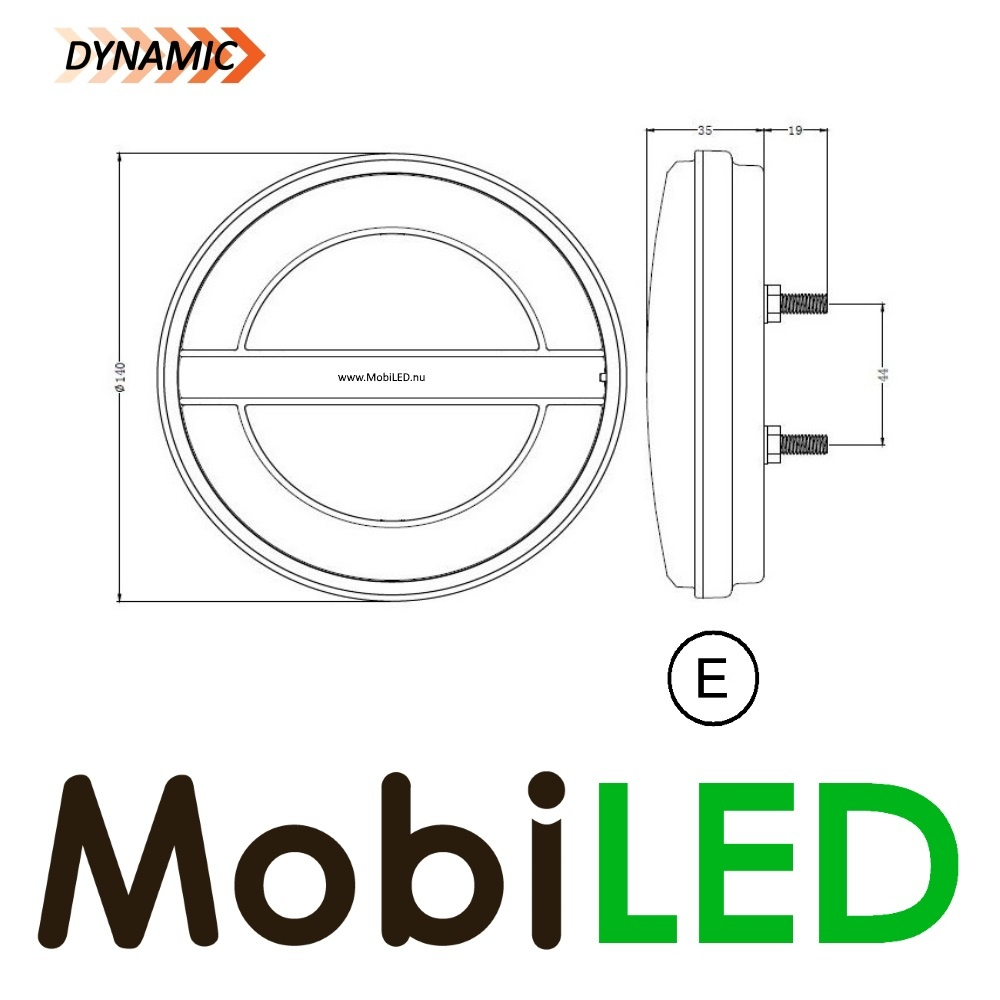 M-LED Dynamic rond achteruitrijlamp  links 3 functies e-keur