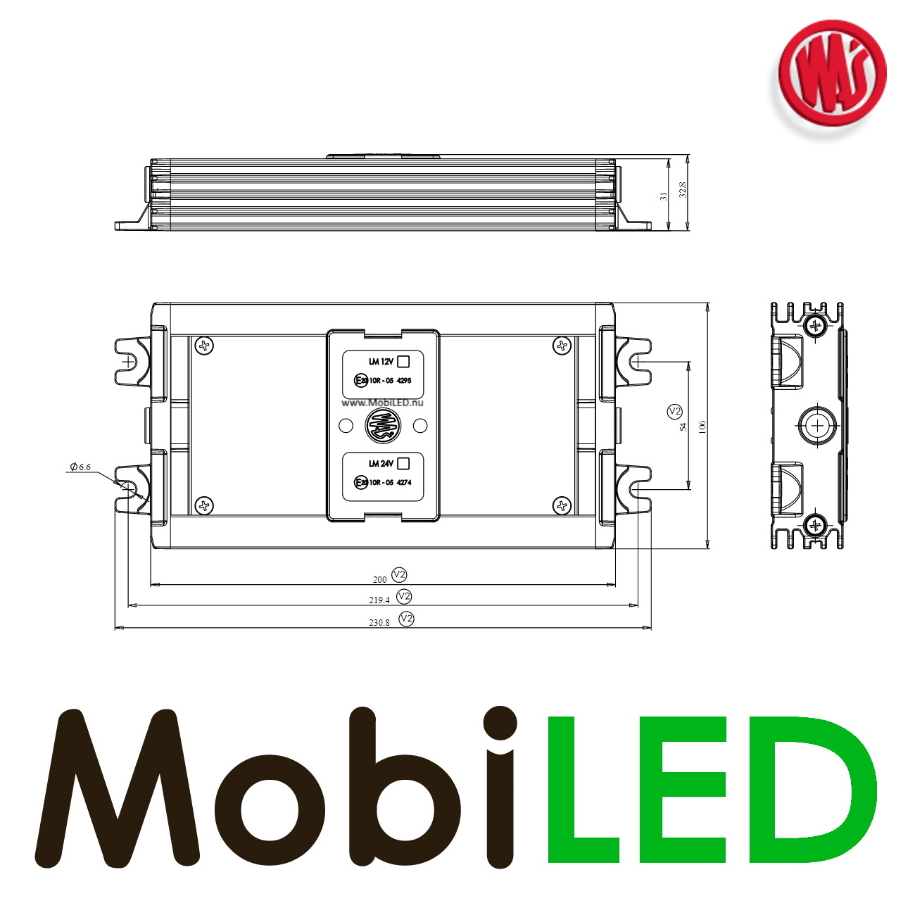 WAS WAS Module LED LM7 12V - 7 fonctions