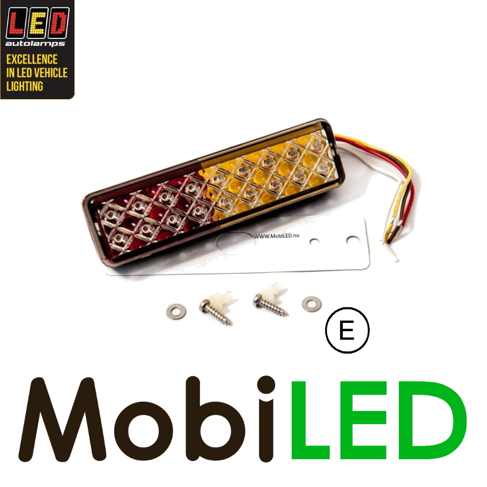 LED autolamps LED achterlicht 3 functies 12-24V E-keur rood-wit rechthoekig