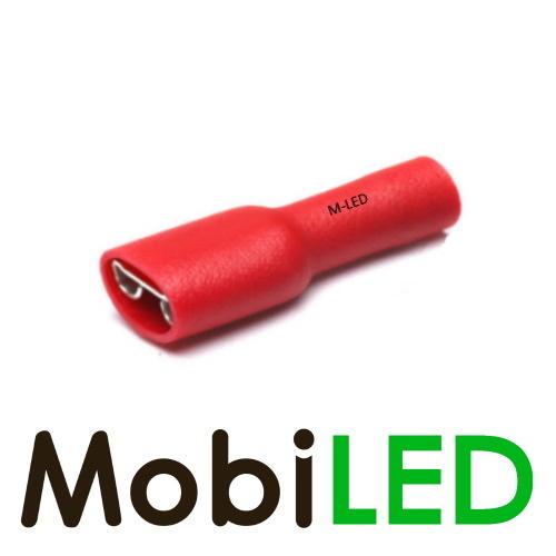 M-LED 10x M-LED PVC Kabelschoen  vrouw volledig geïsoleerd 0.5-1.5mm² (6,3x0,8 mm) rood