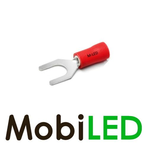 M-LED 10x M-LED PVC Kabelschoen vork half geïsoleerd 0.5-1.5mm² (6,4 mm) rood