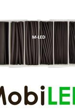 87 pcs 3:1 thermorétractable, noir, tailles assorties