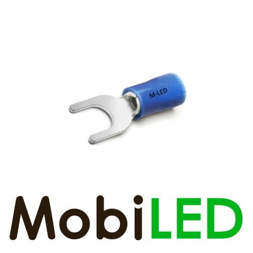 M-LED 100x M-LED PVC Kabelschoen vork half geïsoleerd 1.5-2.5mm² (6,4 mm) blauw
