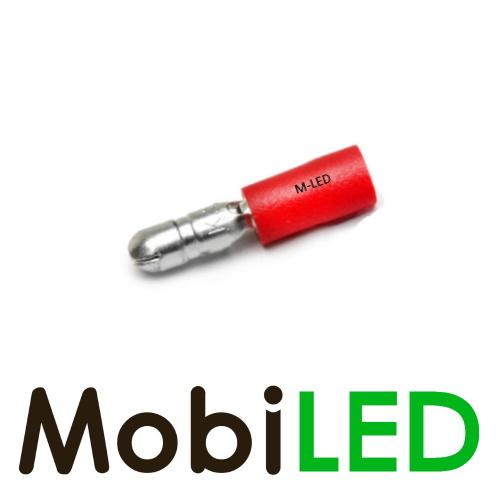 M-LED 100x M-LED PVC Cosse à sertir rond mâle pré-isolé 0.5-1.5mm² (4 mm) rouge