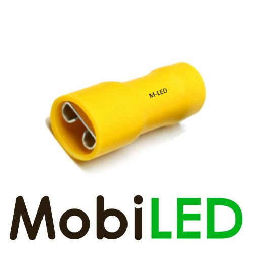 M-LED 100x M-LED PVC Kabelschoen  vrouw volledig geïsoleerd 4-6mm² (6,3x0,8 mm) geel