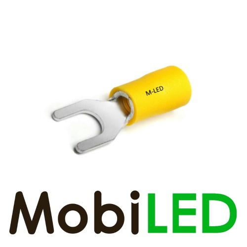 M-LED 100x M-LED PVC Kabelschoen vork half geïsoleerd 4-6mm² (6,4 mm) geel