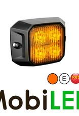 Flitser compact vierkant amber 12-24v