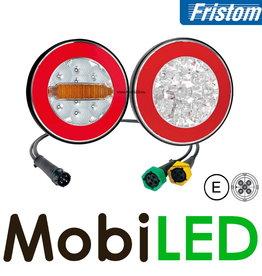 Fristom Set de 2 feux arrières rond 4 fonctions (recul) avec faisceau de câbles