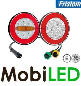 Fristom Set de 2 feux arrières rond 4 fonctions (antibrouillard) avec faisceau de câbles