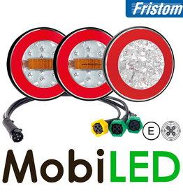 Fristom SET 3 ronde achterlichten 4 functies (achteruit) met kabelset