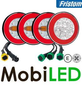 Fristom SET 4 ronde achterlichten 4 functies (achteruit) met kabelset
