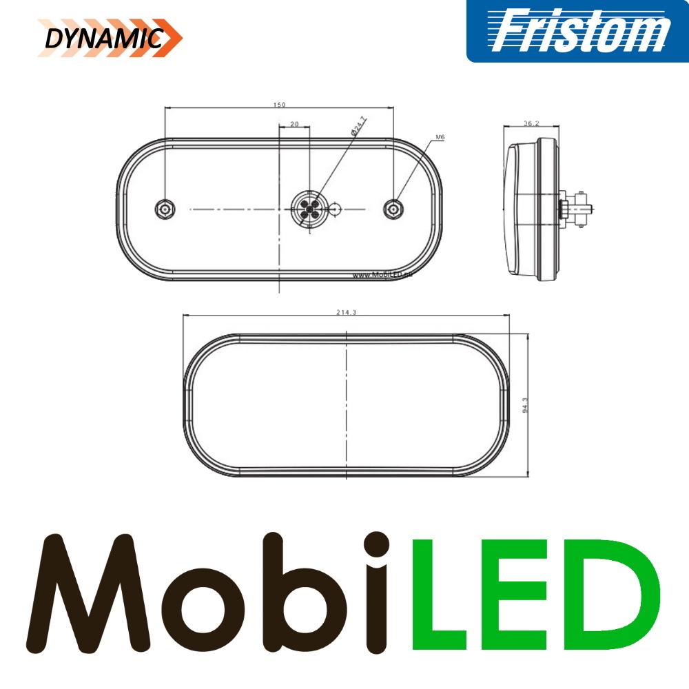 Fristom Achterlicht 4 functies (achteruit) kenteken bajonet FT-230 E-keur