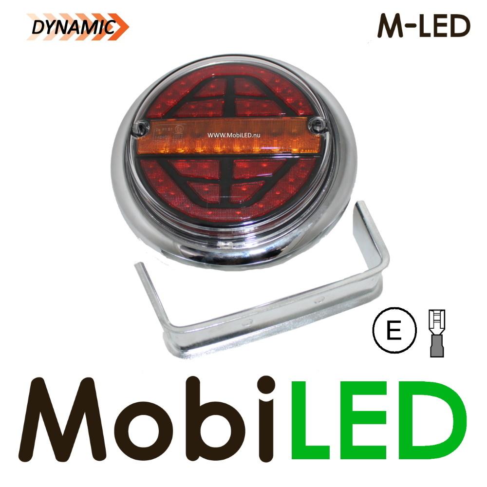 M-LED Dynamisch rond achterlicht E-keur 9-33 volt 3 functies Links