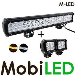 M-LED 126w LED bar + 2x 18w breedstraler met amber flitser