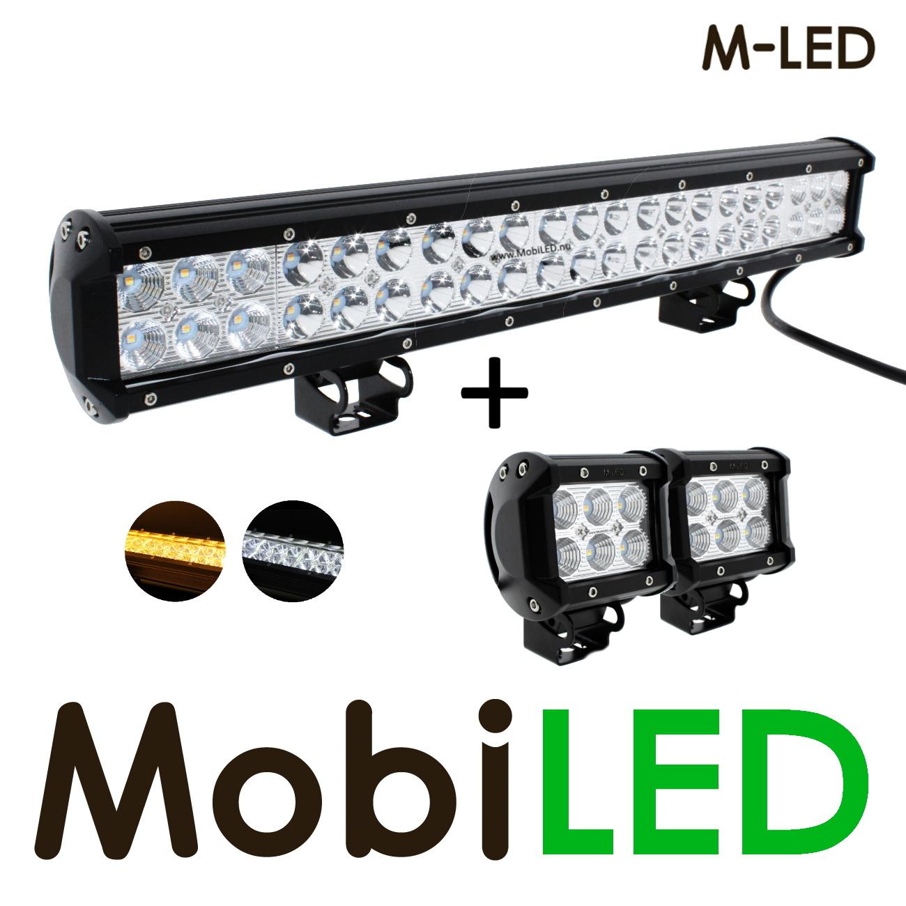M-LED Actieset: 126w LED bar + 2x 18w breedstraler met amber flitser