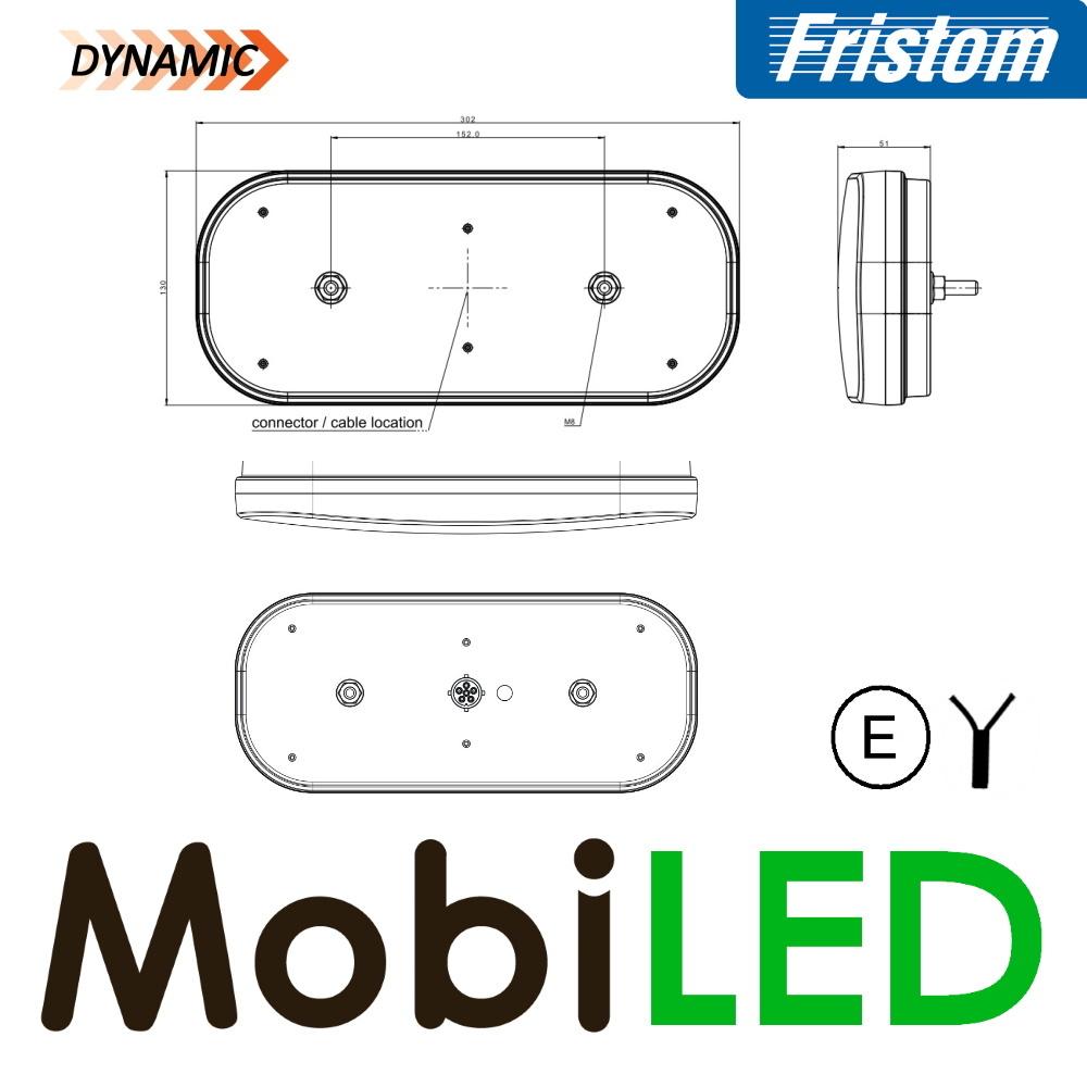 Fristom Feu arrière 5 fonctions réflecteur gauche câble