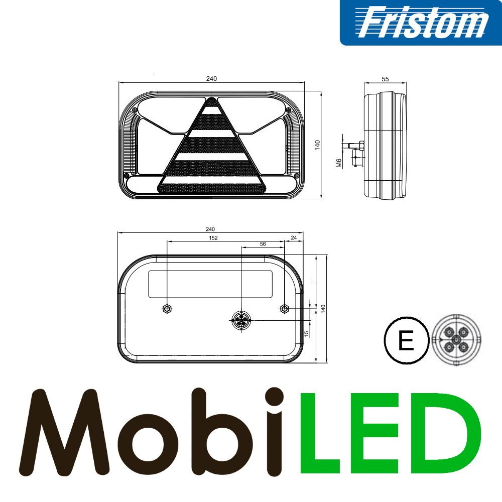 Fristom Achterlicht 4 functies (achteruit) kenteken rechts bajonet