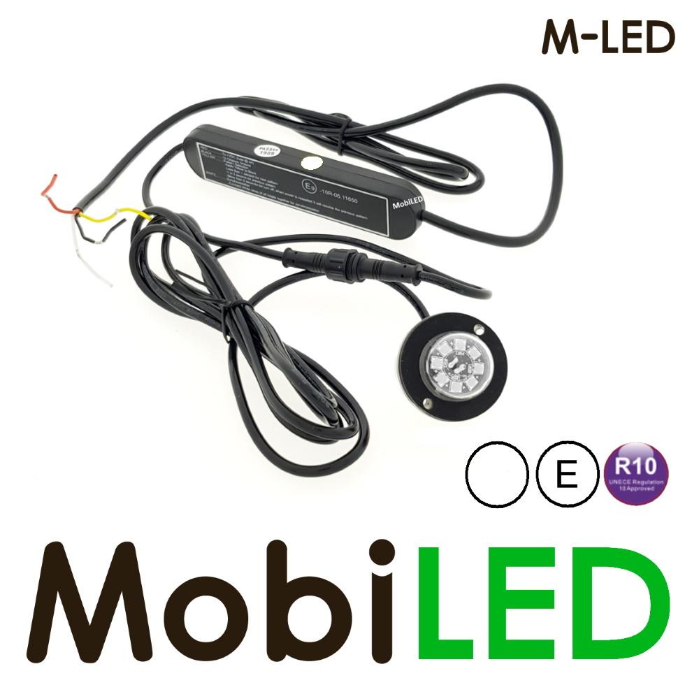 M-LED Undercover inbouw/opbouw Flitser wit  8 LED rond.