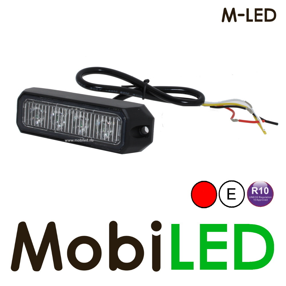 M-LED Flitser Rood Pro 4 Compact R65 12-24 volt