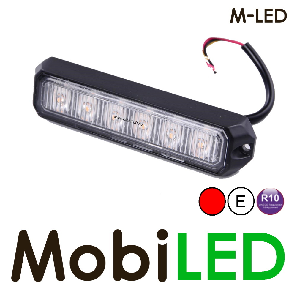 M-LED Flitser Rood Pro 6 Compact 12-24 volt