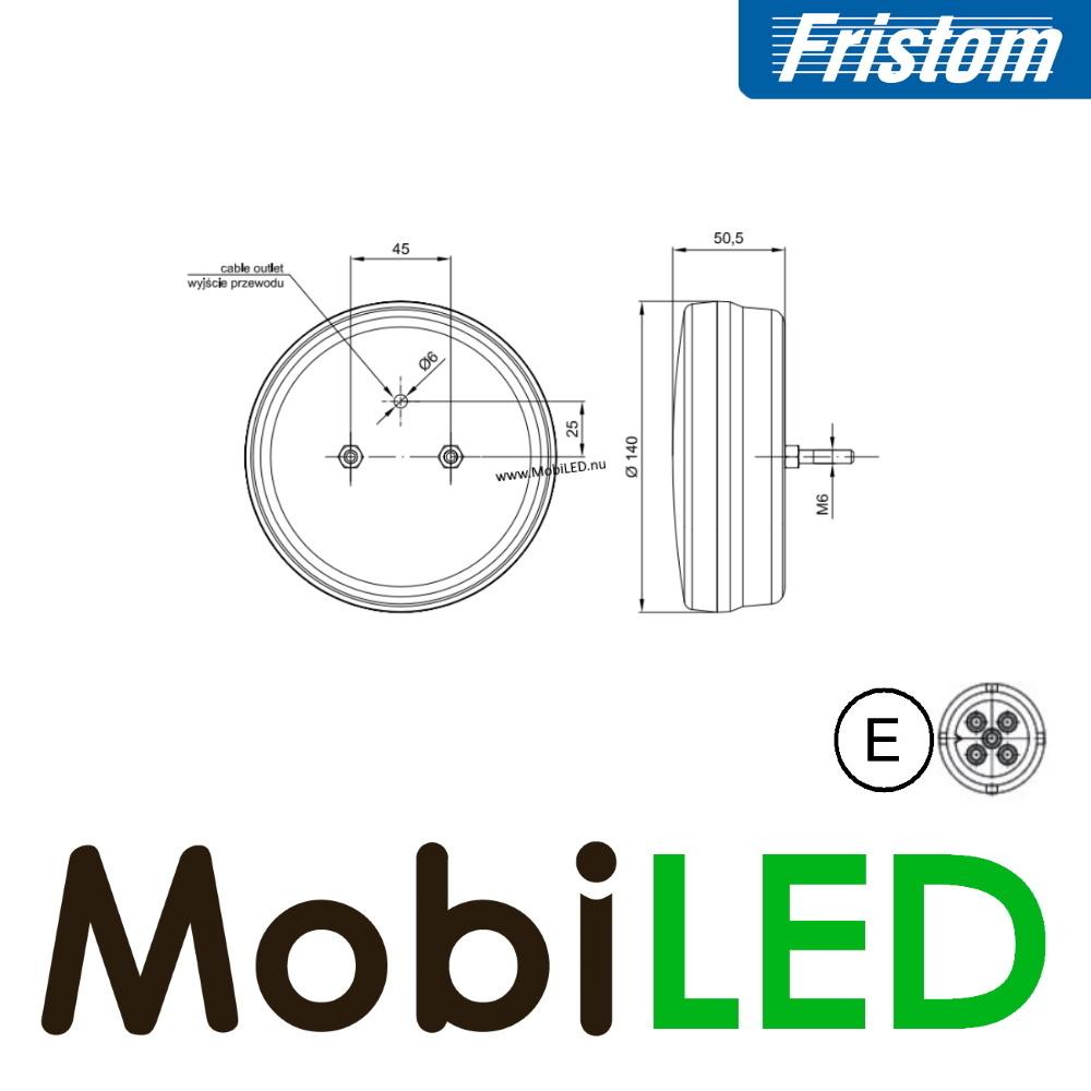 Fristom Neon look Rond achterlicht 3 functies bajonet