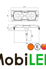 Triple Flitser Amber 12 leds Compact 12-24 volt