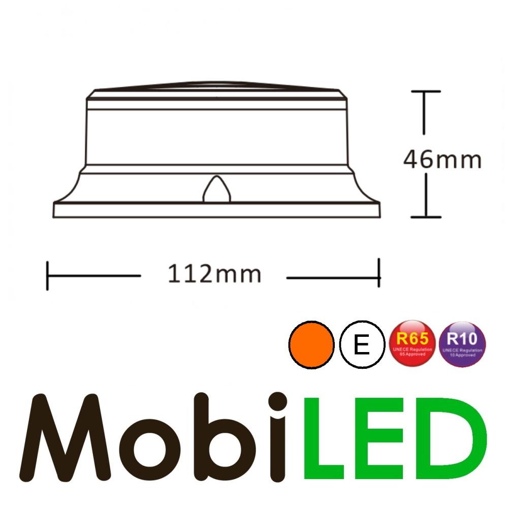 Flitslamp Amber met witte lens UFO 27w magneetvoet