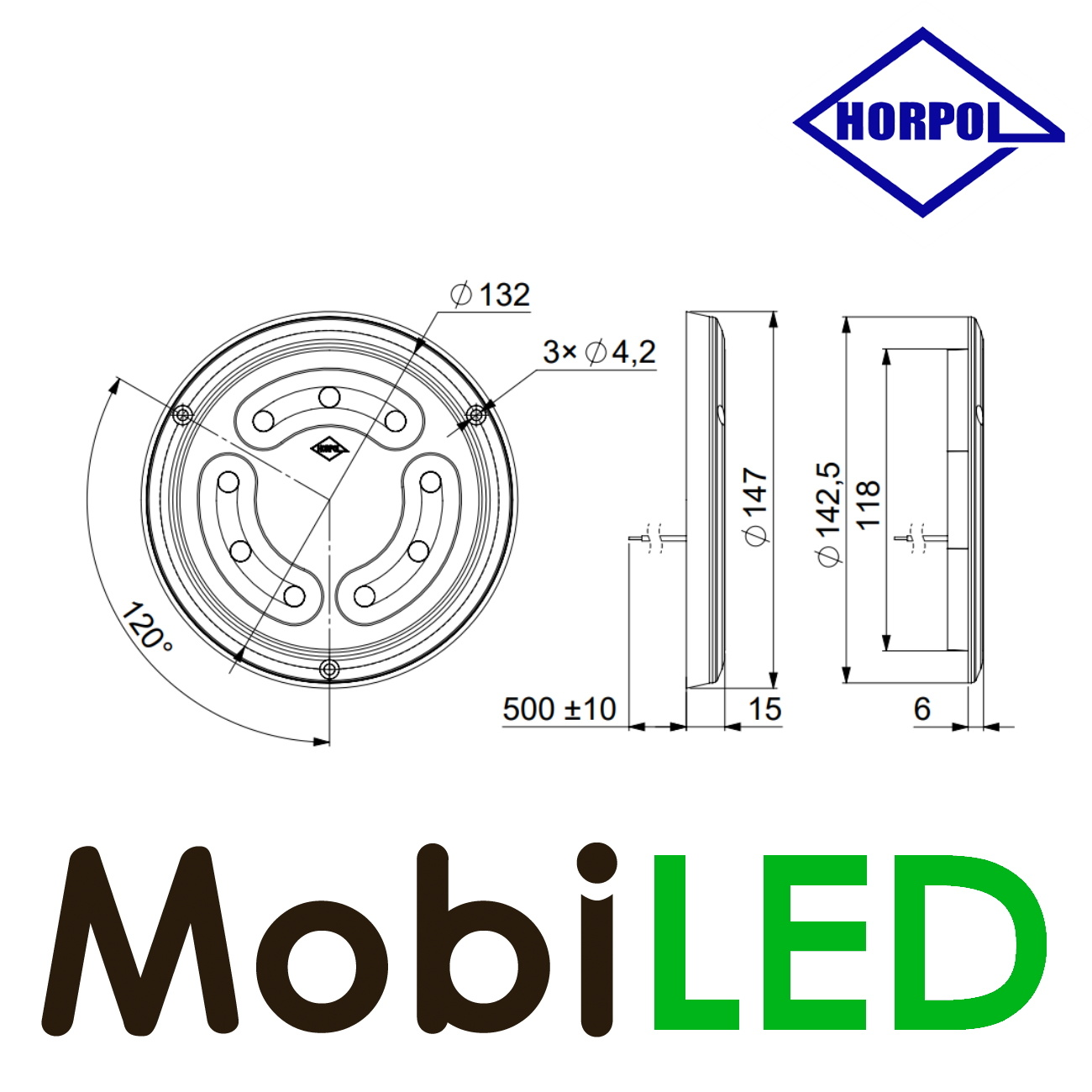 HORPOL Binnenverlichting rond zonder schakelaar 12-24 volt