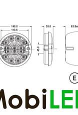 Rond achterlicht 3 functies E-keur