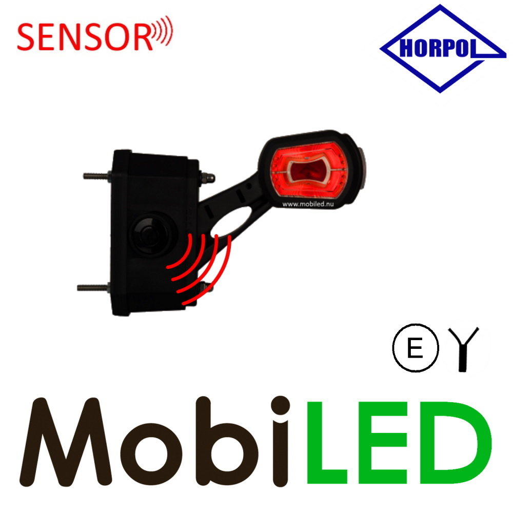HORPOL Pendellamp Schuin model Rechts Rood/Amber/Wit 12/24V E-keur klein met sensor