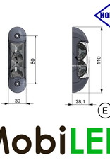 HORPOL Zijmarkering / contourverlichting Rood+Wit opbouw 12-24 V