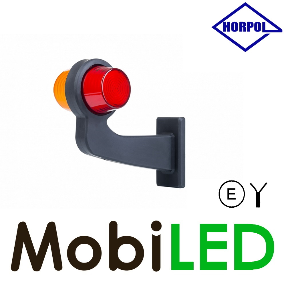 HORPOL Neon LED Breedtelamp Deens model Links Gebogen rood/amber