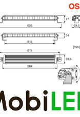 FX500-CB Light bar 68 Watt 564 mm combo E-keur
