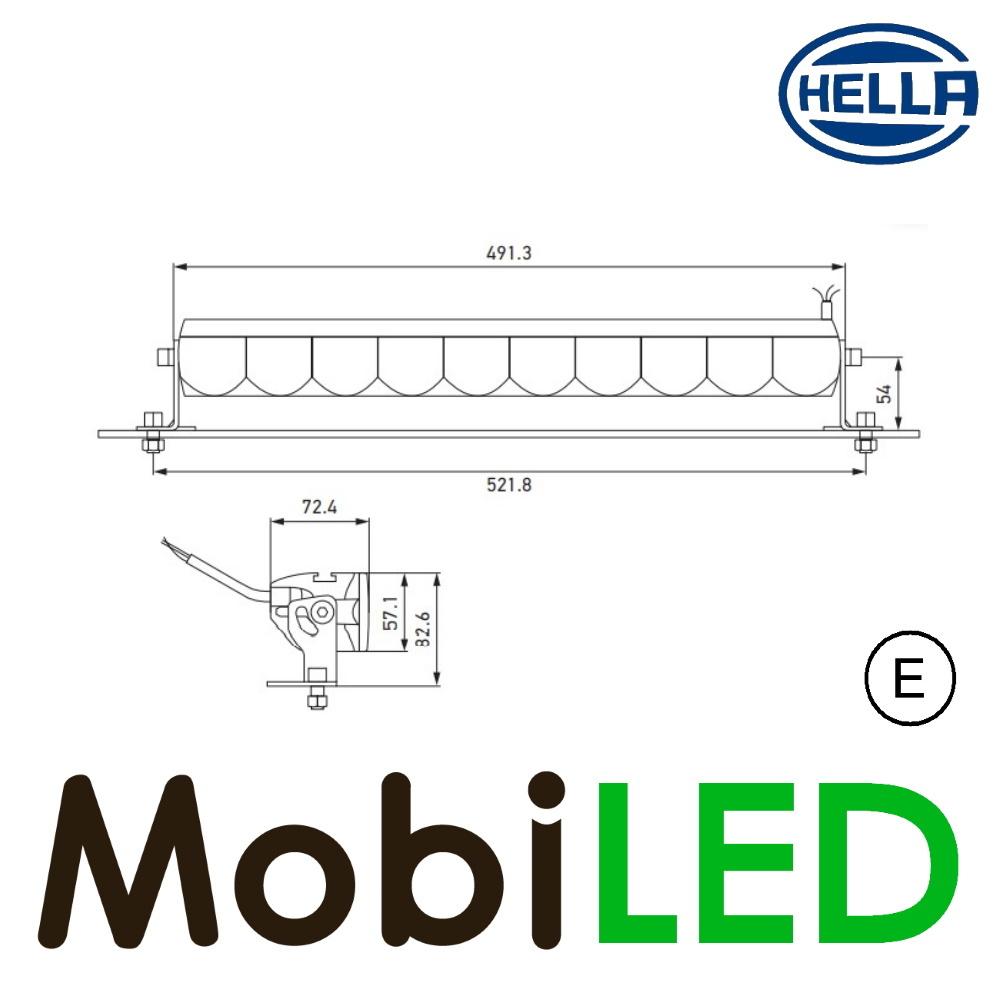 Hella Hella LBE 480 Light bar 53 watt 491 mm positielicht E-keur