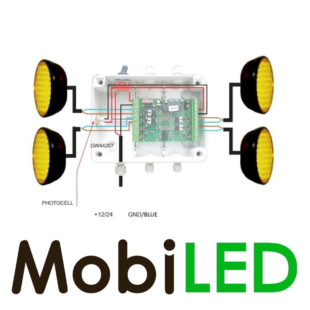 M-LED SET Flitser 100mm met Controle-box (12 VOLT) amber voor actieraam