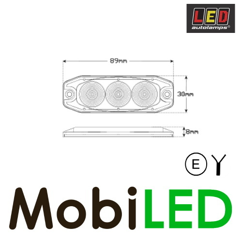 LED autolamps Remlicht 3 led rood 12-24V E-Keur