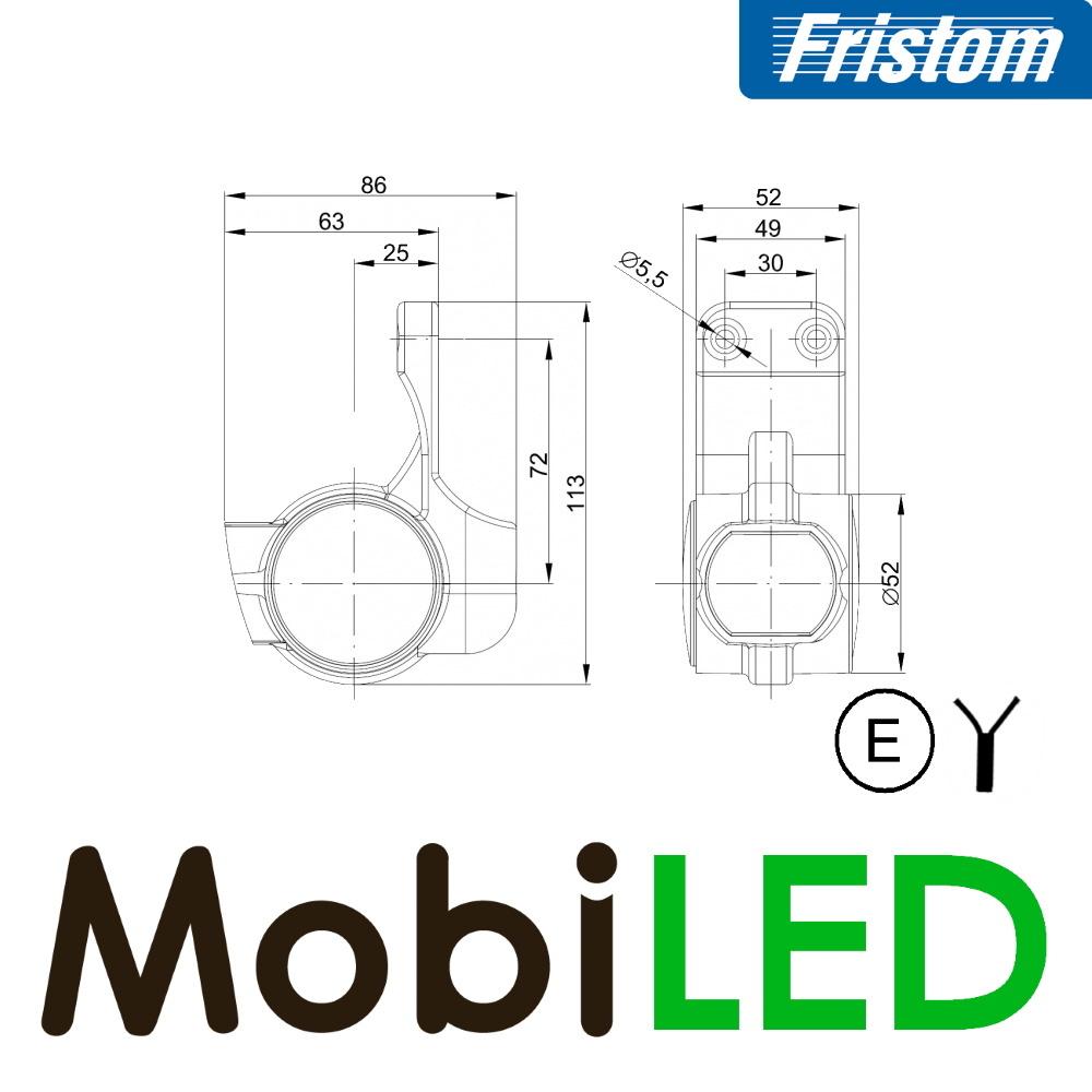Fristom Pendellamp Schuin model Links kort E-keur Rood-Amber-Wit 12-24 volt