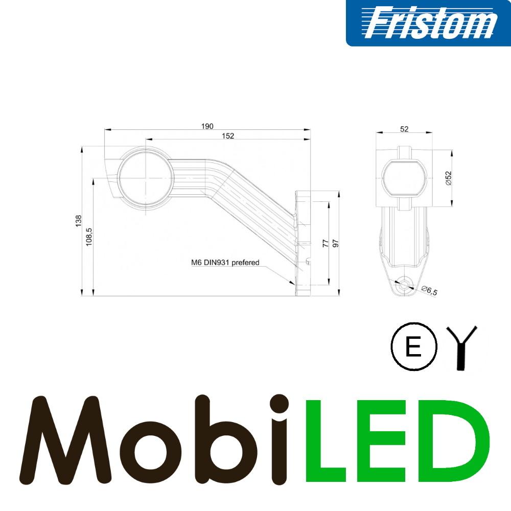 Fristom Pendellamp Schuin model Links  E-keur Rood-Amber-Wit 12-24 volt