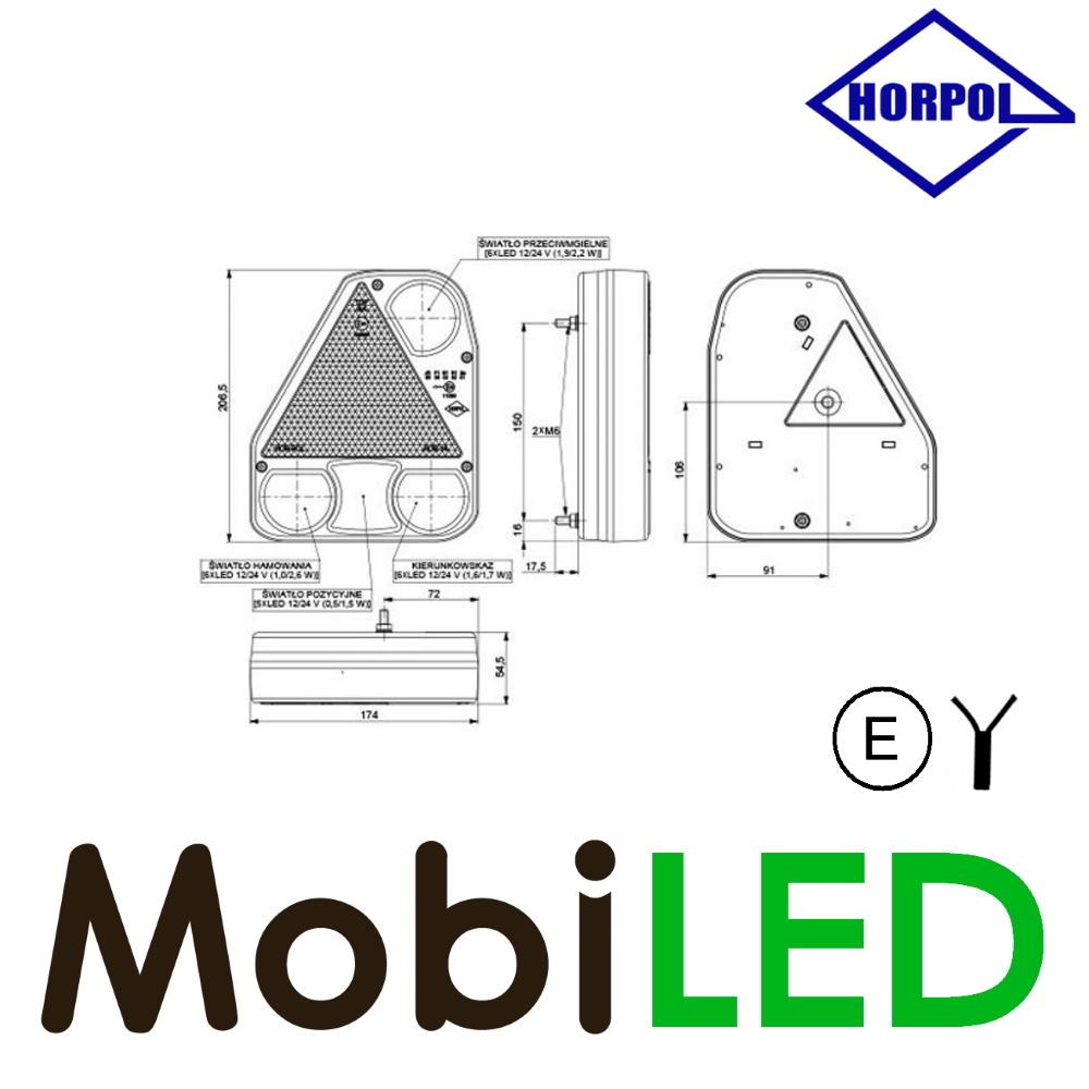 HORPOL Driehoekig modulair achterlicht rechts 4 functies