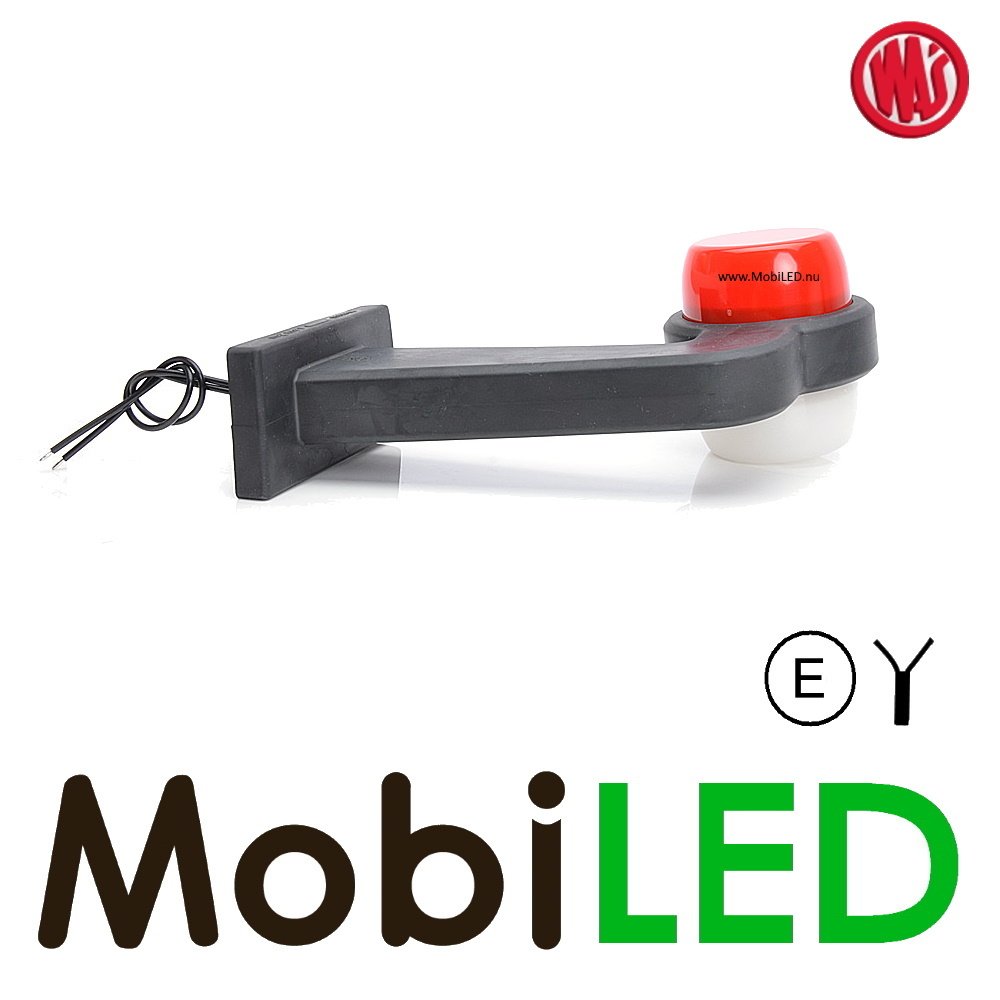 WAS  Neon model rood/wit Rechts Gebogen 12-24 volt E-keur
