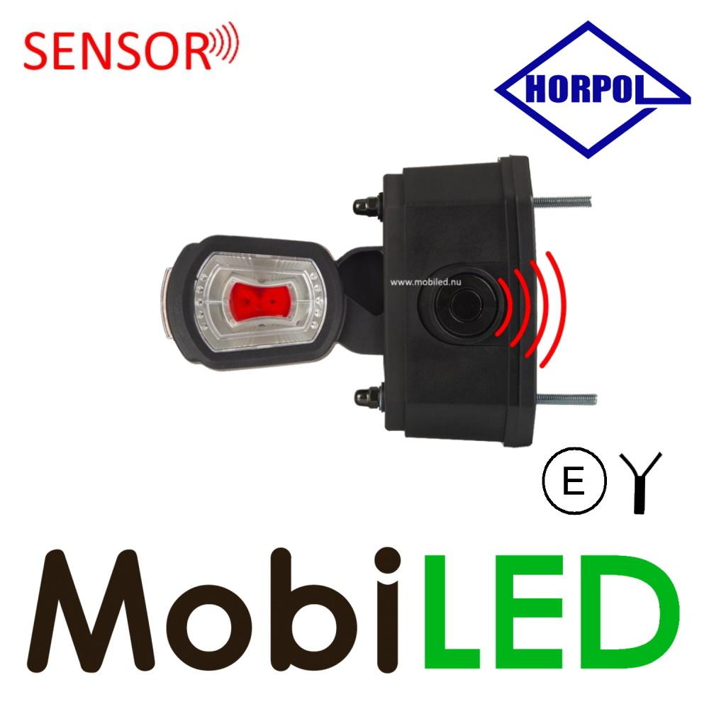 HORPOL Pendellamp Schuin model Links Rood/Amber/Wit 12/24V  E-keur kort  met sensor