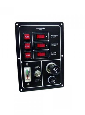 Titan Marine Switch panel 3 gang with rockers - cigarette light and battery