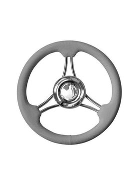 Savoretti Steering Wheel T22RG/35, Grey/SS, PU Foam Cover Ribbed, 35 cm