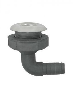 Marinetech PVC Haakse Huiddoorvoer RVS flens - 19mm