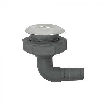PVC Haakse Huiddoorvoer RVS flens, 19mm