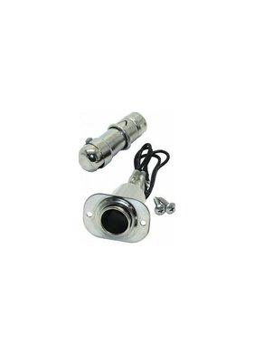 Adapter sigarettenaansluiting met lichtje - RVS - 10 Amp