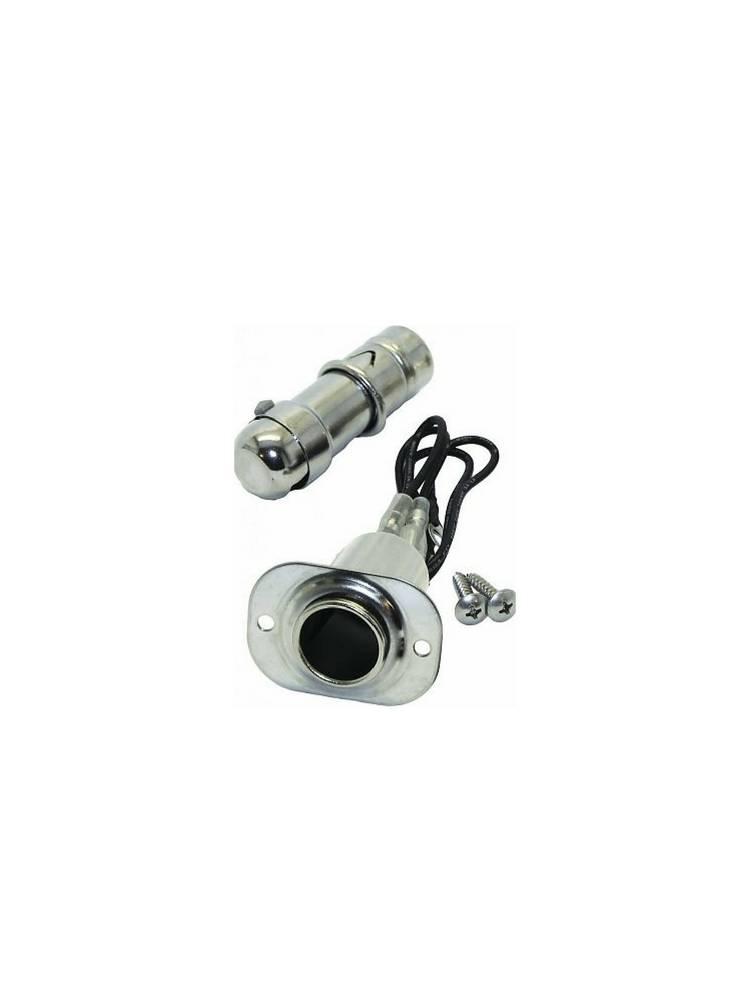 Adapter Zigarettenanschluss mit Licht - Edelstahl - 10 Amp