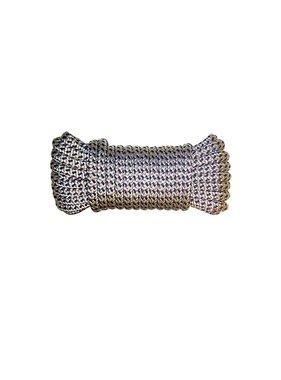 Aanleglijn Dubbel gevlochten polyester 12 mm. * 8 mtr. Zwart/Wit